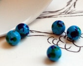 Teeny Blue and Green Beads (12) 5mm -FREE SHIPPING-