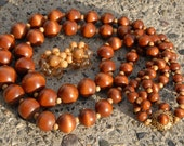 RESERVED - Vintage Wood Bead Double Strand Necklace