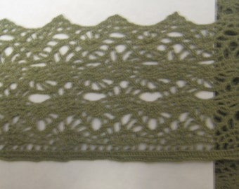 Wholesale Green Lace  2 1/4 inches wide cotton soft wide trim