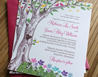 The Kate Rustic Spring Tree with Love Birds Wedding Invitation with Carved Initials