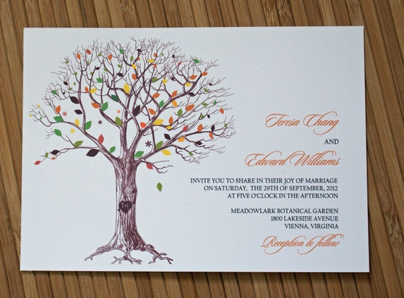 Rustic Tree Wedding Invitation with Carved Initials