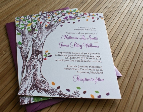 Orange And Green Wedding Invitations: Items Similar To Rustic Autumn Tree Wedding Invitation