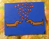 Doxie Love Floating Hearts ORIGINAL Acrylic Painting 8x10 Blue
