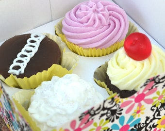 AJs Cupcake Factory Soap - Gift Set Box of 4 Assorted Vegan Bakery Cupcake Soap