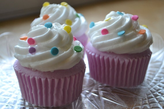 Cupcake Soap  - Party Confetti Cupcake Soap Party Favor Set of 10