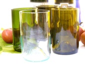 Four Upcycled Wine Bottle Glass Tumblers