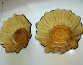 Beautiful Pair of Vintage 1960s SunFlower Patterned Bowls in Amber