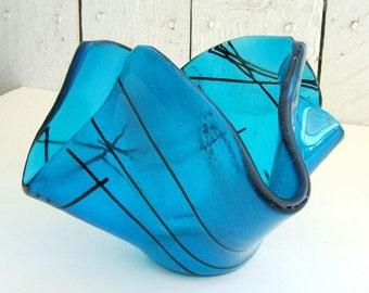 Deep Turquoise Aqua Blue Glass Vase l Candy Dish Bowl l Candle Holder