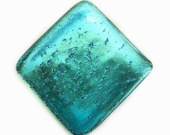 Aqua Turquoise Blue Fused Dichroic Glass Accent Tile