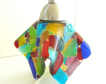 Mosaic Stained Glass Pendant Light Fixture in Multi-Colored Art Glass