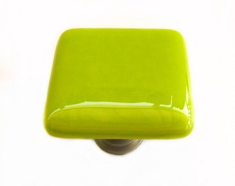 Lime Green Glass Cabinet Knob l Kitchen Bathroom Hardware