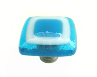 Deep Turquoise Aqua White Fused Art Glass Knob Hardware