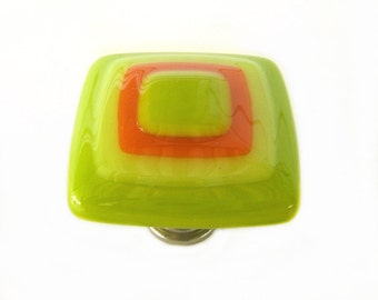 Lime Green, Yellow, Orange Glass Knob l Glass Cabinet Hardware