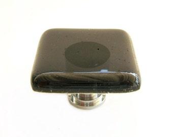 Black Transparent Fused Glass Cabinet Knob
