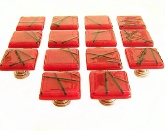 Red Glass Kitchen Knob Hardware l Glass Cabinet Knobs and Pulls l Fun Dresser Knobs by Uneek Glass Fusions k11011