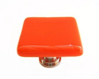 Orange Nectarine Glass Knob l Kitchen Hardware l Glass Cabinet Knobs
