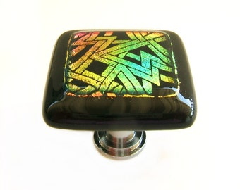 Multicolored Glass Cabinet Hardware in Dichroic Etched Geo