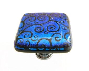 Cobalt Blue Curly Q Laser Etched Dichroic Glass Knob