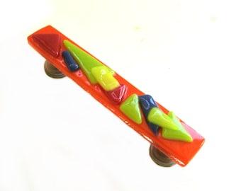 Fun and Funky Bright Orange Multi Colored Glass Pull Handle
