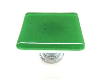 Kelly Green Fused Glass Cabinet Knob Hardware