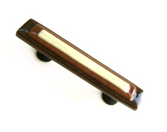 Brown Caramel Ivory Glass Drawer Pulls With Custom Screw Placement and Size