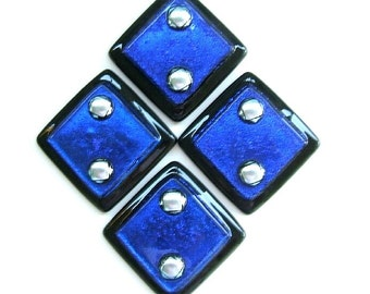 Cobalt Blue and Silver Dichroic Art Glass Accent Inset Tile