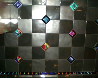 Kitchen Backsplash Tile in Dichroic Glass