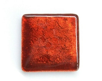 Paprika Red Fused Dichroic Glass Cabinet Knob - Custom Color by Uneek Glass Fusions