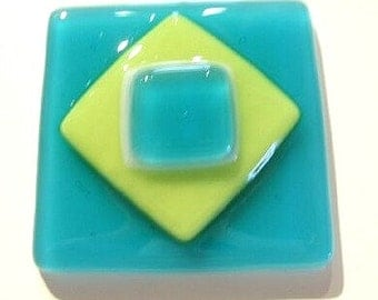 Decorative Glass Knobs in Turquoise and Yellow Art Glass