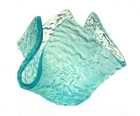 Aqua Blue Flower Vase, Candle Holder, Candy Dish