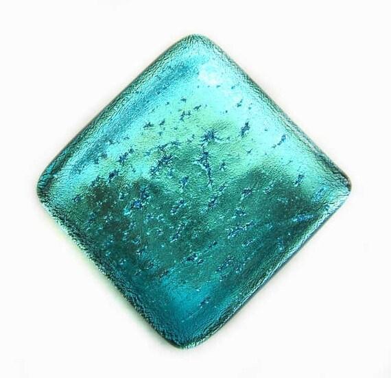 Aqua Turquoise Blue Fused Dichroic Glass Accent Tile