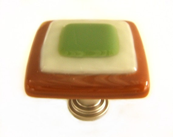 Copper Olive Green Glass Knobs l Decorative Glass Cabinet Hardware
