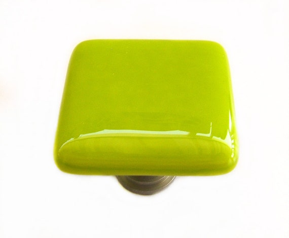 Lime Green Glass Cabinet Knob l Kitchen by UneekGlassFusions