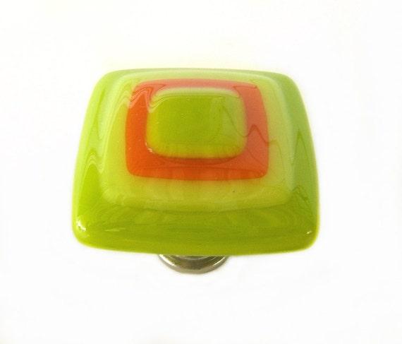 Lime Green, Yellow, Orange Glass Knob l Glass Cabinet Hardware