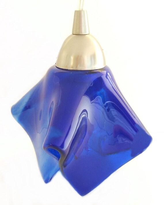 Pendant light cobalt blue art glass kitchen island lighting Artisan glass pendant lights