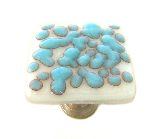 Turquoise Reactive Cloud on White Fused Glass Cabinet Knob