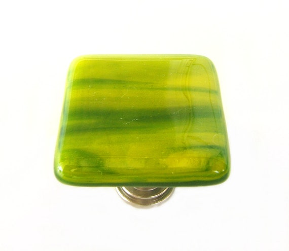 Fused glass knob in green wisps. Shades of green and yellow art glass cabinet knobs for kitchen or bath. Unique glass knobs and pulls k11061