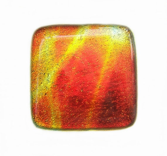 Red Orange Yellow Dichroic Glass Knob Cabinet Hardware