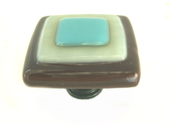 Glass knob in turquoise ivory and brown fused glass glass for Turquoise cabinet pulls