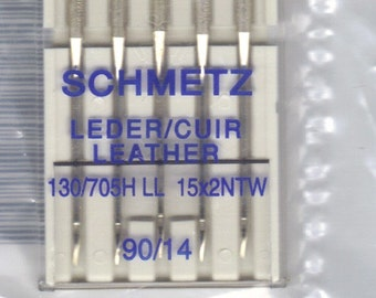 Schmetz sewing machine needles for Leather, size 90,14 ,  5 pack