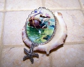 Silver Mermaid Pendant, Sea Fairy 30x40mm Cameo Pendant, Handmade 40x30mm Glass Cabochon