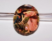 40x30mm Gather Ye Rosebuds While Ye May - Handmade Glass Dome Cabochon - John Waterhouse Fine Art