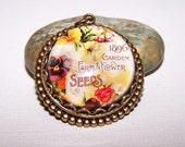 25mm Farm and Flower Seed Packet Cameo Pendant, Antique Silver or Brass Setting
