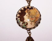 Mucha La Plume Cameo Pendant, 25mm Mucha Cameo, Antique Brass Pendant, Art Deco Lady Pendant, Handmade Glass Cabochon