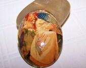 40x30mm Princess Hyacinth Glass Cabochon - Alphonse Mucha Fine Art