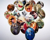 Cameo SALE - Buy  3 Get 1 FREE, 30x40mm Handmade Glass Cabochons, Over 400 Choices Mermaid Owl Bird Raven Nevermore Flower Fairy Waterhouse