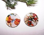 25mm Christmas Fairy Cameos - Set of 2, Holly Berry Pixie, Bird Elf Cameo, Handmade Christmas Fairy Cabochons
