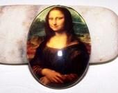 30x40 Mona Lisa Cameo. 40x30 Handmade Glass Cabochon, Leonardo da Vinci Art