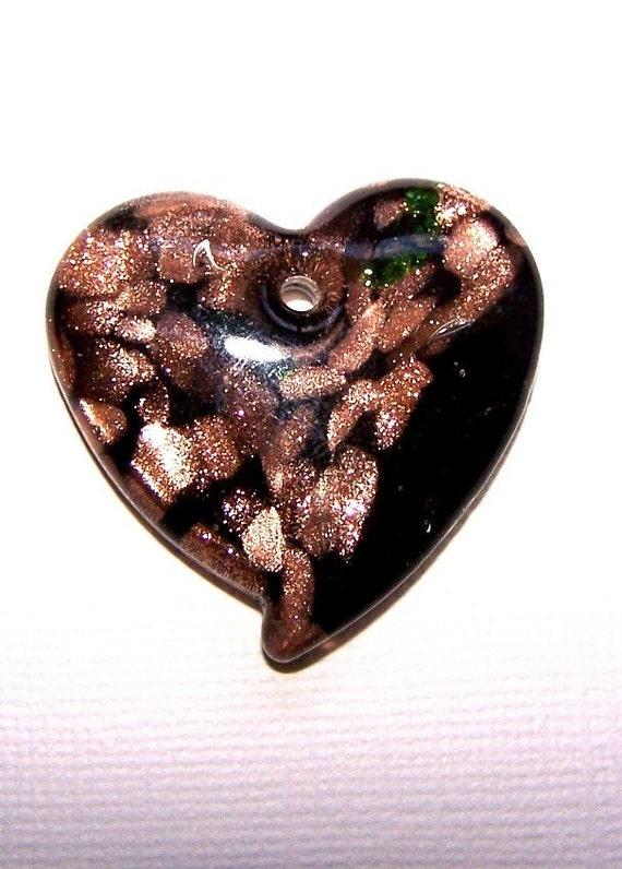 Black Heart Pendant,  38mm Black Gold Foil Lampworked Bead, Large Heart Bead, 1 Piece (Item 535)