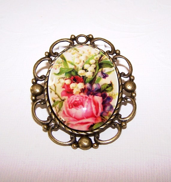Pink Rose and Lily of the Valley Pendant, Antique Brass Finish, 30x40 Roses and Lily of the Valley Cabochon, Handmade 40x30 Glass Cabochon